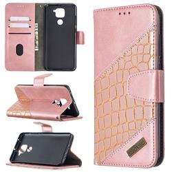 BinfenColor BF04 Color Block Stitching Crocodile Leather Case Cover for Xiaomi Redmi Note 9 - Rose Gold