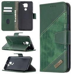 BinfenColor BF04 Color Block Stitching Crocodile Leather Case Cover for Xiaomi Redmi Note 9 - Green