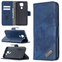 BinfenColor BF04 Color Block Stitching Crocodile Leather Case Cover for Xiaomi Redmi Note 9 - Blue