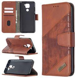 BinfenColor BF04 Color Block Stitching Crocodile Leather Case Cover for Xiaomi Redmi Note 9 - Brown