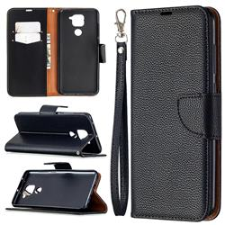 Classic Luxury Litchi Leather Phone Wallet Case for Xiaomi Redmi Note 9 - Black