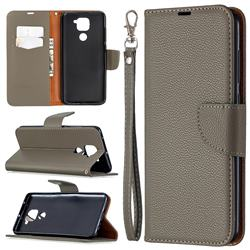 Classic Luxury Litchi Leather Phone Wallet Case for Xiaomi Redmi Note 9 - Gray