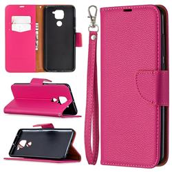 Classic Luxury Litchi Leather Phone Wallet Case for Xiaomi Redmi Note 9 - Rose