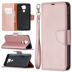 Classic Luxury Litchi Leather Phone Wallet Case for Xiaomi Redmi Note 9 - Golden