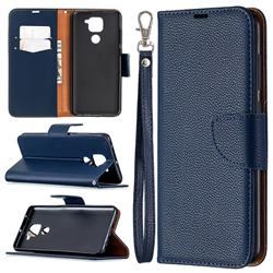 Classic Luxury Litchi Leather Phone Wallet Case for Xiaomi Redmi Note 9 - Blue