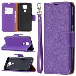 Classic Luxury Litchi Leather Phone Wallet Case for Xiaomi Redmi Note 9 - Purple