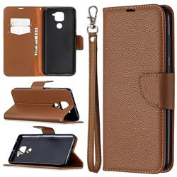 Classic Luxury Litchi Leather Phone Wallet Case for Xiaomi Redmi Note 9 - Brown