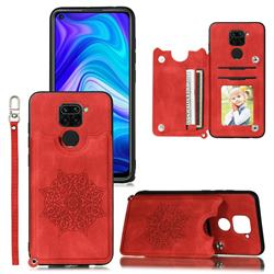 Luxury Mandala Multi-function Magnetic Card Slots Stand Leather Back Cover for Xiaomi Redmi Note 9 - Red