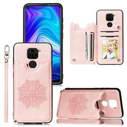 Luxury Mandala Multi-function Magnetic Card Slots Stand Leather Back Cover for Xiaomi Redmi Note 9 - Rose Gold