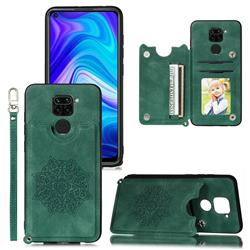 Luxury Mandala Multi-function Magnetic Card Slots Stand Leather Back Cover for Xiaomi Redmi Note 9 - Green