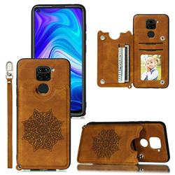 Luxury Mandala Multi-function Magnetic Card Slots Stand Leather Back Cover for Xiaomi Redmi Note 9 - Brown