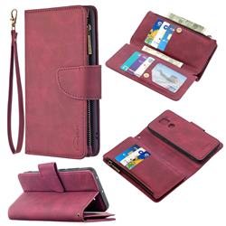 Binfen Color BF02 Sensory Buckle Zipper Multifunction Leather Phone Wallet for Xiaomi Redmi Note 9 - Red Wine
