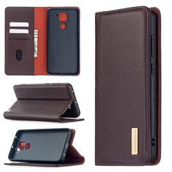 Binfen Color BF06 Luxury Classic Genuine Leather Detachable Magnet Holster Cover for Xiaomi Redmi Note 9 - Dark Brown