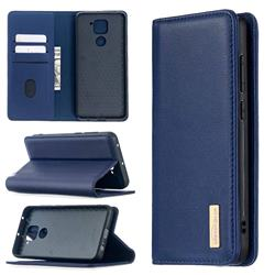 Binfen Color BF06 Luxury Classic Genuine Leather Detachable Magnet Holster Cover for Xiaomi Redmi Note 9 - Blue