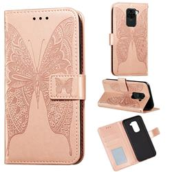 Intricate Embossing Vivid Butterfly Leather Wallet Case for Xiaomi Redmi Note 9 - Rose Gold