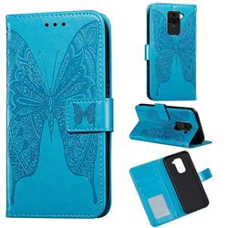 Intricate Embossing Vivid Butterfly Leather Wallet Case for Xiaomi Redmi Note 9 - Blue