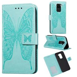 Intricate Embossing Vivid Butterfly Leather Wallet Case for Xiaomi Redmi Note 9 - Green