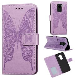 Intricate Embossing Vivid Butterfly Leather Wallet Case for Xiaomi Redmi Note 9 - Purple