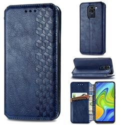 Ultra Slim Fashion Business Card Magnetic Automatic Suction Leather Flip Cover for Xiaomi Redmi Note 9 - Dark Blue