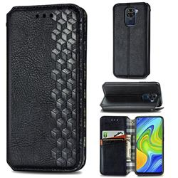 Ultra Slim Fashion Business Card Magnetic Automatic Suction Leather Flip Cover for Xiaomi Redmi Note 9 - Black
