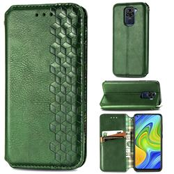 Ultra Slim Fashion Business Card Magnetic Automatic Suction Leather Flip Cover for Xiaomi Redmi Note 9 - Green