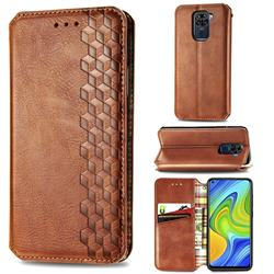 Ultra Slim Fashion Business Card Magnetic Automatic Suction Leather Flip Cover for Xiaomi Redmi Note 9 - Brown