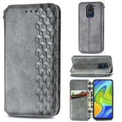Ultra Slim Fashion Business Card Magnetic Automatic Suction Leather Flip Cover for Xiaomi Redmi Note 9 - Grey