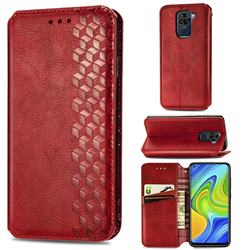Ultra Slim Fashion Business Card Magnetic Automatic Suction Leather Flip Cover for Xiaomi Redmi Note 9 - Red