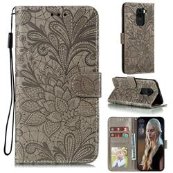 Intricate Embossing Lace Jasmine Flower Leather Wallet Case for Xiaomi Redmi Note 9 - Gray
