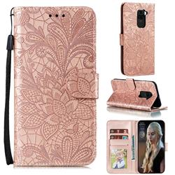 Intricate Embossing Lace Jasmine Flower Leather Wallet Case for Xiaomi Redmi Note 9 - Rose Gold