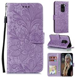 Intricate Embossing Lace Jasmine Flower Leather Wallet Case for Xiaomi Redmi Note 9 - Purple