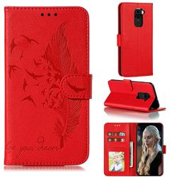 Intricate Embossing Lychee Feather Bird Leather Wallet Case for Xiaomi Redmi Note 9 - Red