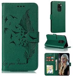 Intricate Embossing Lychee Feather Bird Leather Wallet Case for Xiaomi Redmi Note 9 - Green