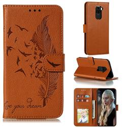 Intricate Embossing Lychee Feather Bird Leather Wallet Case for Xiaomi Redmi Note 9 - Brown