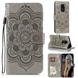 Intricate Embossing Datura Solar Leather Wallet Case for Xiaomi Redmi Note 9 - Gray