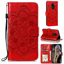 Intricate Embossing Datura Solar Leather Wallet Case for Xiaomi Redmi Note 9 - Red