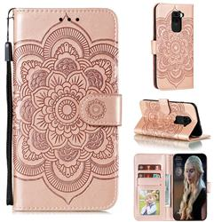 Intricate Embossing Datura Solar Leather Wallet Case for Xiaomi Redmi Note 9 - Rose Gold
