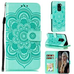 Intricate Embossing Datura Solar Leather Wallet Case for Xiaomi Redmi Note 9 - Green