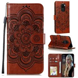Intricate Embossing Datura Solar Leather Wallet Case for Xiaomi Redmi Note 9 - Brown