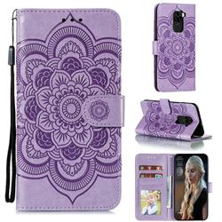 Intricate Embossing Datura Solar Leather Wallet Case for Xiaomi Redmi Note 9 - Purple