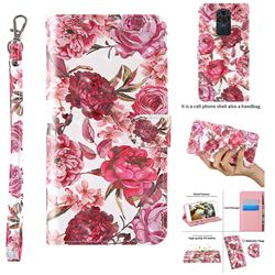 Red Flower 3D Painted Leather Wallet Case for Xiaomi Redmi Note 9