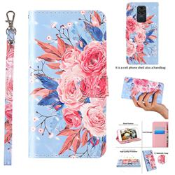 Rose Flower 3D Painted Leather Wallet Case for Xiaomi Redmi Note 9