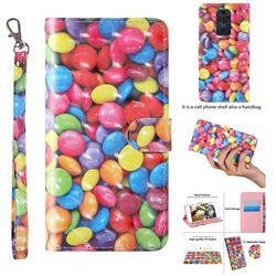 Colorful Jelly Beans 3D Painted Leather Wallet Case for Xiaomi Redmi Note 9