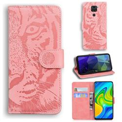Intricate Embossing Tiger Face Leather Wallet Case for Xiaomi Redmi Note 9 - Pink