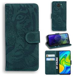 Intricate Embossing Tiger Face Leather Wallet Case for Xiaomi Redmi Note 9 - Green