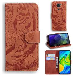 Intricate Embossing Tiger Face Leather Wallet Case for Xiaomi Redmi Note 9 - Brown