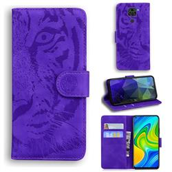 Intricate Embossing Tiger Face Leather Wallet Case for Xiaomi Redmi Note 9 - Purple