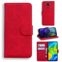 Retro Classic Skin Feel Leather Wallet Phone Case for Xiaomi Redmi Note 9 - Red