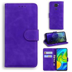 Retro Classic Skin Feel Leather Wallet Phone Case for Xiaomi Redmi Note 9 - Purple