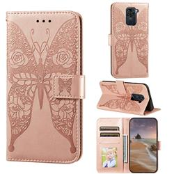 Intricate Embossing Rose Flower Butterfly Leather Wallet Case for Xiaomi Redmi Note 9 - Rose Gold